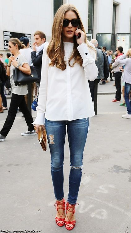 How to rock with a white shirt. Check out more at silkypearl.com